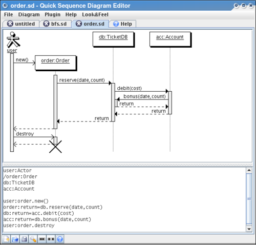 Quick Sequence Diagram Editor Screenshot
